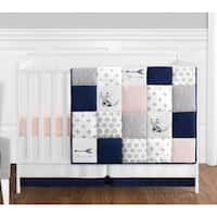 Sweet Jojo Designs Navy Blue, Pink, & Grey Patchwork Woodland Fox Arrow Collection Baby Girl 4-pc Bumperless Crib Bedding Set