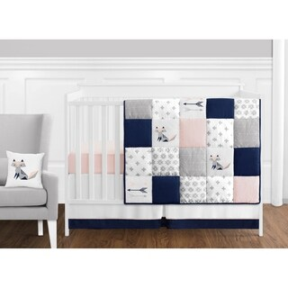 Sweet Jojo Designs Navy Blue, Pink, & Grey Patchwork Woodland Fox Arrow Collection Baby Girl 11-pc Bumperless Crib Bedding Set