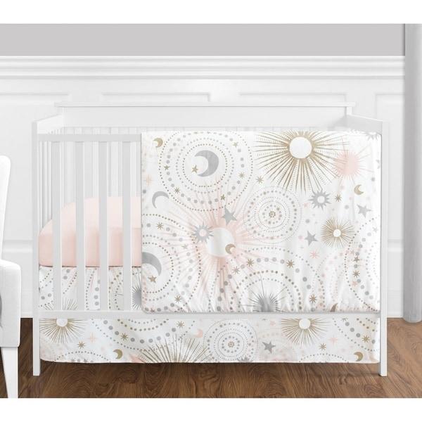 Sweet Jojo Designs Blush Pink Gold Grey & White Star and Moon Celestial Collection Baby Girl 4-pc Bumperless Crib Bedding Set