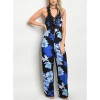 JED Women's Lace-Up Wide Leg Floral Jumpsuit