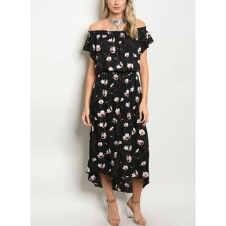 JED Women's Off-Shoulder Asymmetric Hem Floral Dress (3 options available)