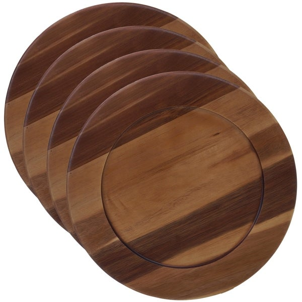 Certified International Acacia Wood 13-inch Charger Plate (Set of 4)