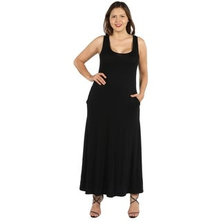 24Seven Comfort Apparel Marion Sleeveless Plus Size Long Dress (5 options available)