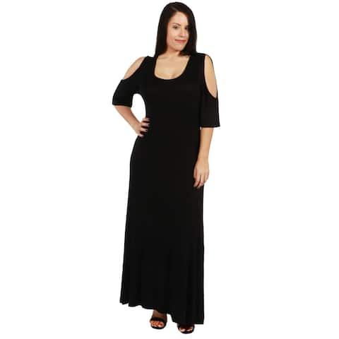 24Seven Comfort Apparel Meg Plus Size Long Dress