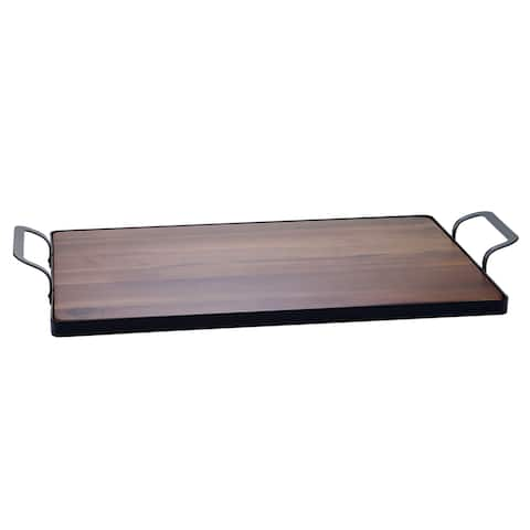 Certified International Brown Acacia Wood Tray with Metal Frame
