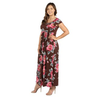 24Seven Comfort Apparel Brown and Pink Floral Empire Waist Plus Size Long Dress (More options available)