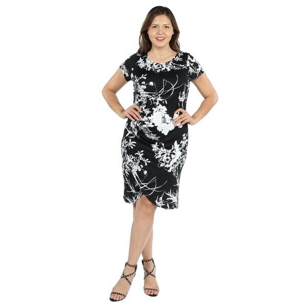 c6ed340e8fefe Shop 24Seven Comfort Apparel Diana Black and White Plus Size Dress ...