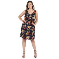 24Seven Comfort Apparel Bryn Black Floral Plus Size Mini Dress