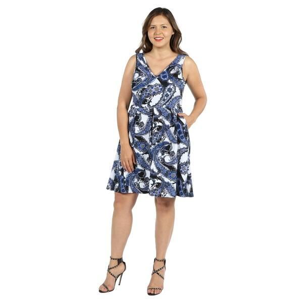0d94f4a021 Shop 24Seven Comfort Apparel Emi Blue and White Plus Size Dress ...