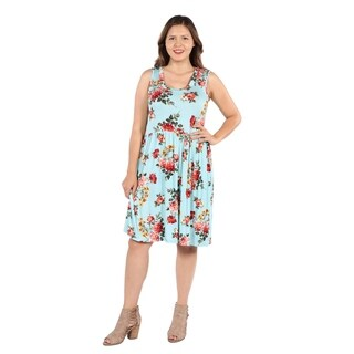 24Seven Comfort Apparel Nicole Green Floral Plus Size Dress