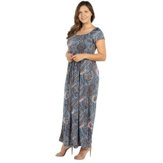 24Seven Comfort Apparel Emilia Blue Paisley Empire Waist Plus Size Long Dress