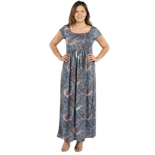 Shop 24seven Comfort Apparel Emilia Blue Paisley Empire Waist Plus