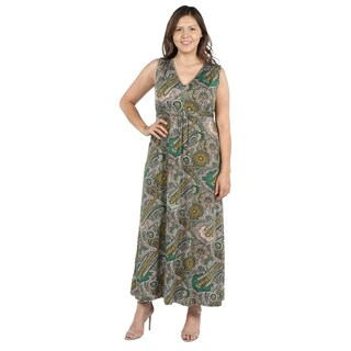 24Seven Comfort Apparel Zooey Empire Waist Plus Size Long Dress