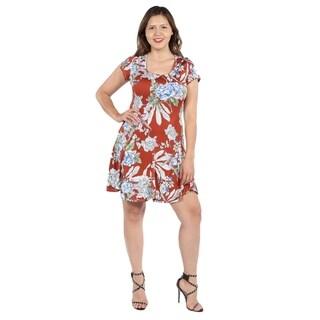 24Seven Comfort Apparel Lani Orange Short Sleeve Plus Size Dress
