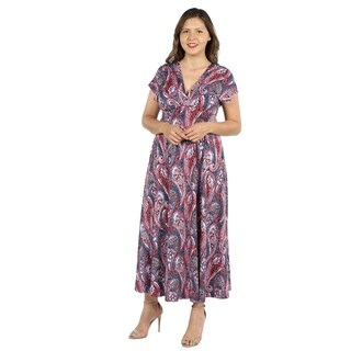 24Seven Comfort Apparel Constance Multicolor Paisley Empire Waist Plus Size Long Dress (3 options available)