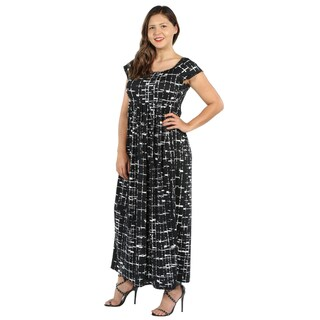 24Seven Comfort Apparel Deena Black and White Empire Waist Plus Size Long Dress (3 options available)