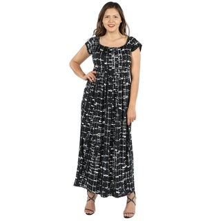 24Seven Comfort Apparel Deena Black and White Empire Waist Plus Size Long Dress