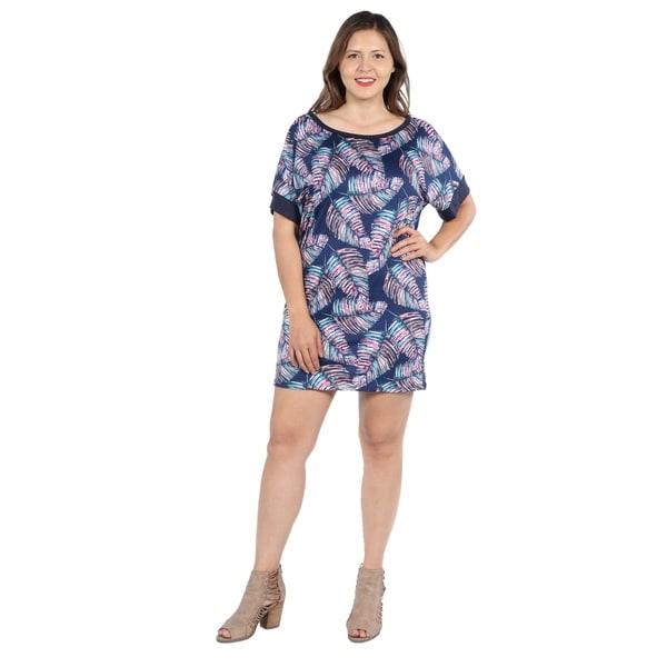 71c8b48da4b 24Seven Comfort Apparel Taylor Blue Feather Print Plus Size Mini Dress
