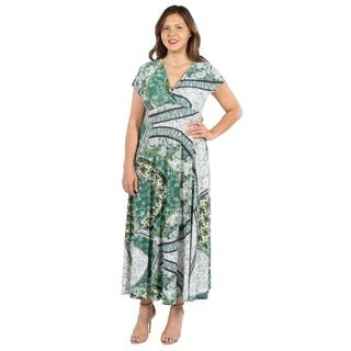 24Seven Comfort Apparel Lena Short Sleeve Green Print Empire Waist Plus Size Long Dress