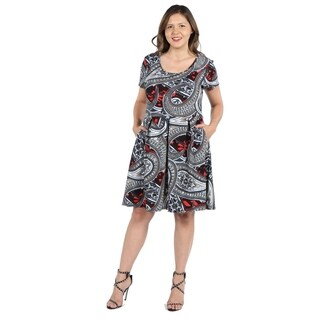 24Seven Comfort Apparel Ellie Black and Red Multicolor Empire Waist Plus Size Mini Dres (3 options available)