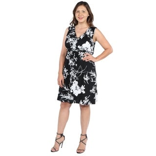 24Seven Comfort Apparel Marilyn Black and White Sleeveless Plus Size Dress