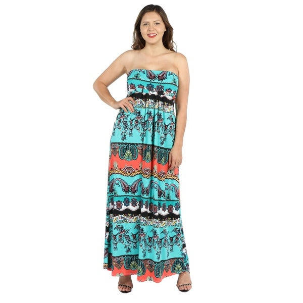 c2c45fc916c 24Seven Comfort Apparel Bethany Strapless Green and Black Empire Waist Plus  Size Long D