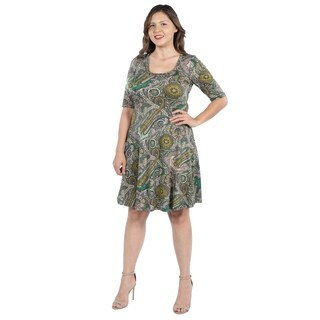 24Seven Comfort Apparel Lorna Green Paisley Plus Size Dress