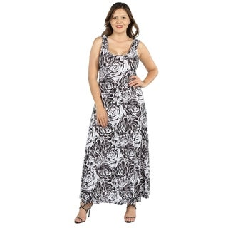 24Seven Comfort Apparel Magda Grey Floral Plus Size Long Dress (3 options available)