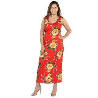 24Seven Comfort Apparel Kathy Orange Floral Plus Size Long Dress