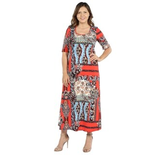 24Seven Comfort Apparel Morgana Orange and Turquoise Plus Size Long Dress