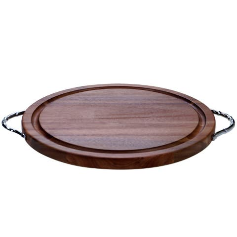 Certified International Acacia Wood Cutting Board with Metal Handles