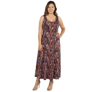 24Seven Comfort Apparel Annie Rust and Blue Plus Size Long Dress