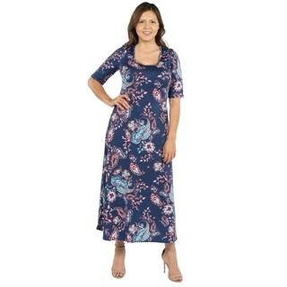 24Seven Comfort Apparel Katerina Aqua Swirl Plus Size Long Dress