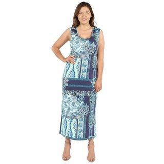 24Seven Comfort Apparel Renee Blue and Green Plus Size Long Dress (3 options available)