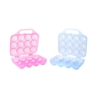 Clear Plastic Egg Carton, 12 Egg Holder Carrying Case with Handle