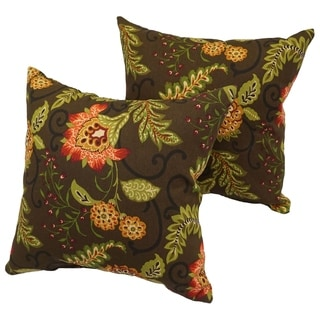 Shop Pillow Perfect Outdoor Green Brown Tropical Stripe
