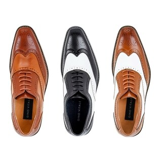 Gino Vitale Men's Two Tone Wing Tip Oxford Dress Shoes