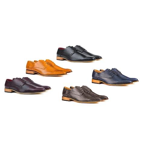Gino Vitale Men's Plain Toe Diamond Cut Dress Shoes