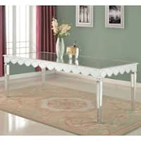 """80"""" Mirrored Dining Table with Wooden Accent - Silver"""