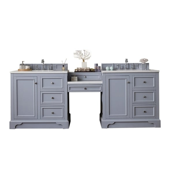 "De Soto 94"" Double Vanity Set, Silver Gray with Makeup Table, 3 CM Carrara Marble Top"