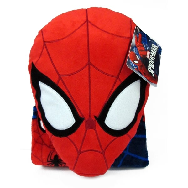 "Marvel Spiderman Whoosh Nogginz Pillow with 40"" x 50"" Travel Blanket Set"