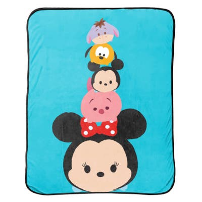 Disney Tsum Tsum Faces Flannel Plush with Silk Touch Reverse Throw