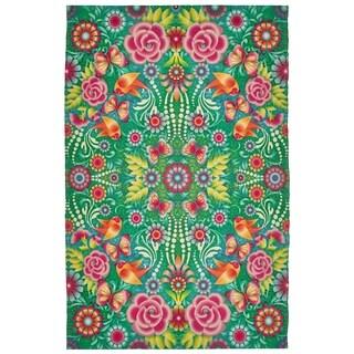 Catalina Estrada Lola Floral Turquoise/ Multi Rug - 5'x 8'