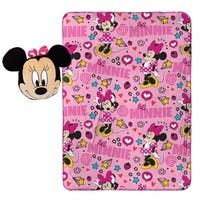 "Disney Minnie Mouse Doodle Nogginz Pillow with 40"" x 50"" Travel Blanket Set"