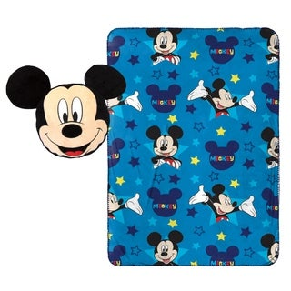 "Disney Mickey Mouse Star Nogginz Pillow with 40"" x 50"" Travel Blanket Set"