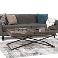 WYNDENHALL Poulton Modern Industrial Solid Elm Wood Coffee Table with Trays and Metal Legs