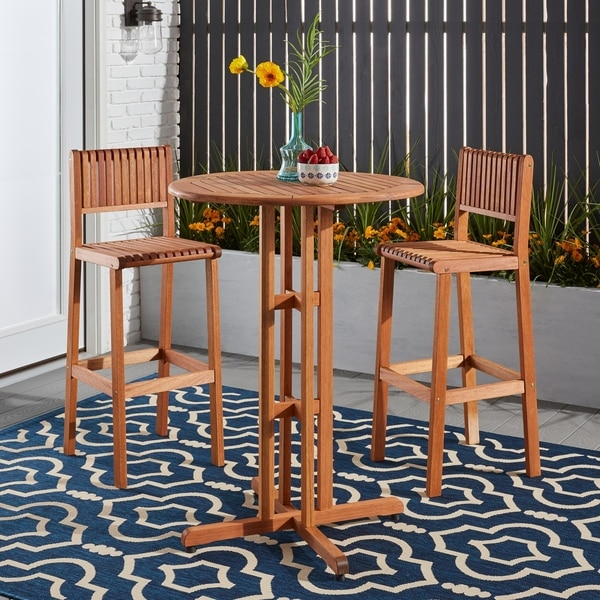 3 piece patio bar set. Simple Set Ibiza 3 Piece Round Patio Bar Set To L