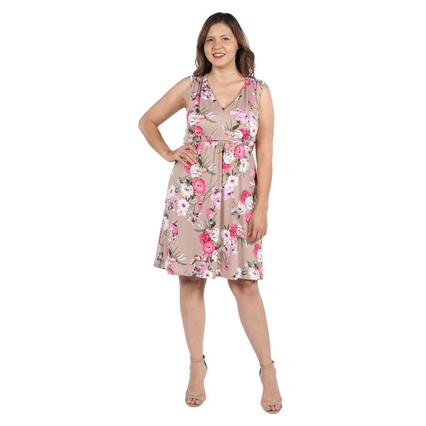 Shop 24Seven Comfort Apparel Lauren Brown and Pink Floral Empire ...