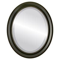 Newport Framed Oval Mirror in Rubbed Black