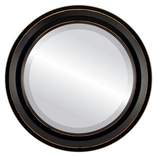 Newport Framed Round Mirror in Rubbed Black